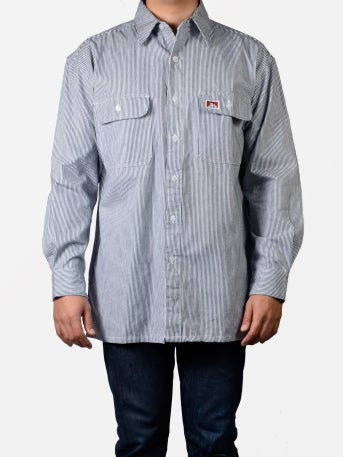 Image of Ben Davis - Long Sleeved Striped Button-Up – Hickory