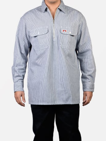 Image of Ben Davis - Long Sleeved Striped, Half Zipper, Button Pocket – Hickory (100% Cotton Reg )
