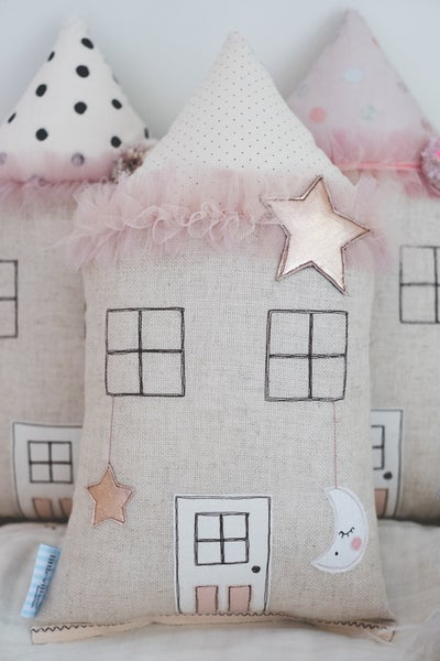 Image of RESERVED SARAH - Moon & Stars house cushions in blush and copper