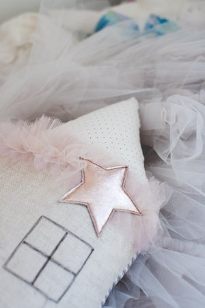 Image of Moon & Stars house cushion in blush and copper