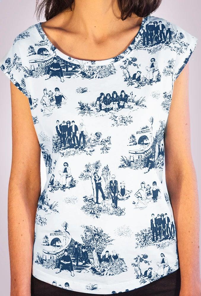 Image of T-shirt Femme - Rockstars sur toile de Jouy bleu