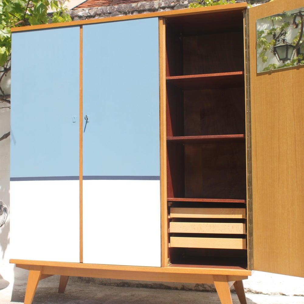 Image of Armoire Vintage penderie étagère 3 portes