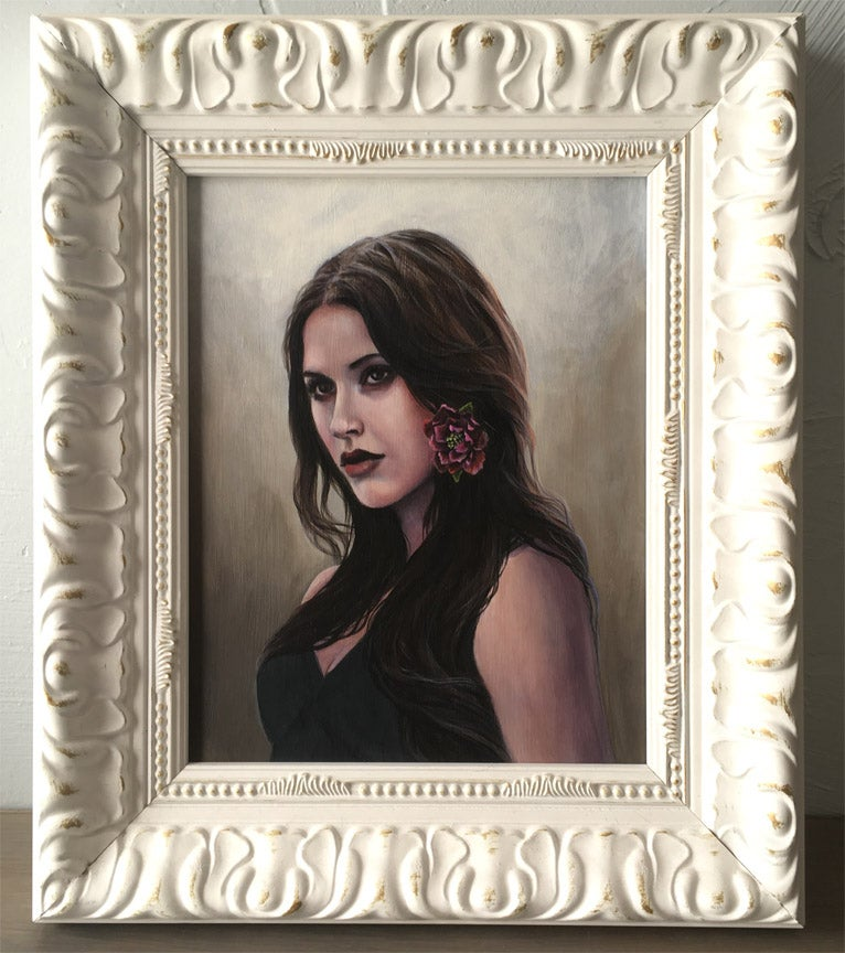 Image of Framed Original Painting - Woman with Peony