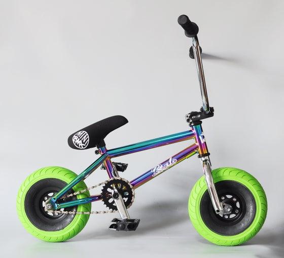 Image of WILDCAT MINI BMX COMPLETE BIKE RAMBO OILSLICK GREEN (TYRE GREEN)