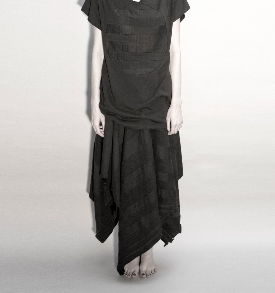 Image of SACRED: ABSTRACTED TARTAN STRIPED SKIRT