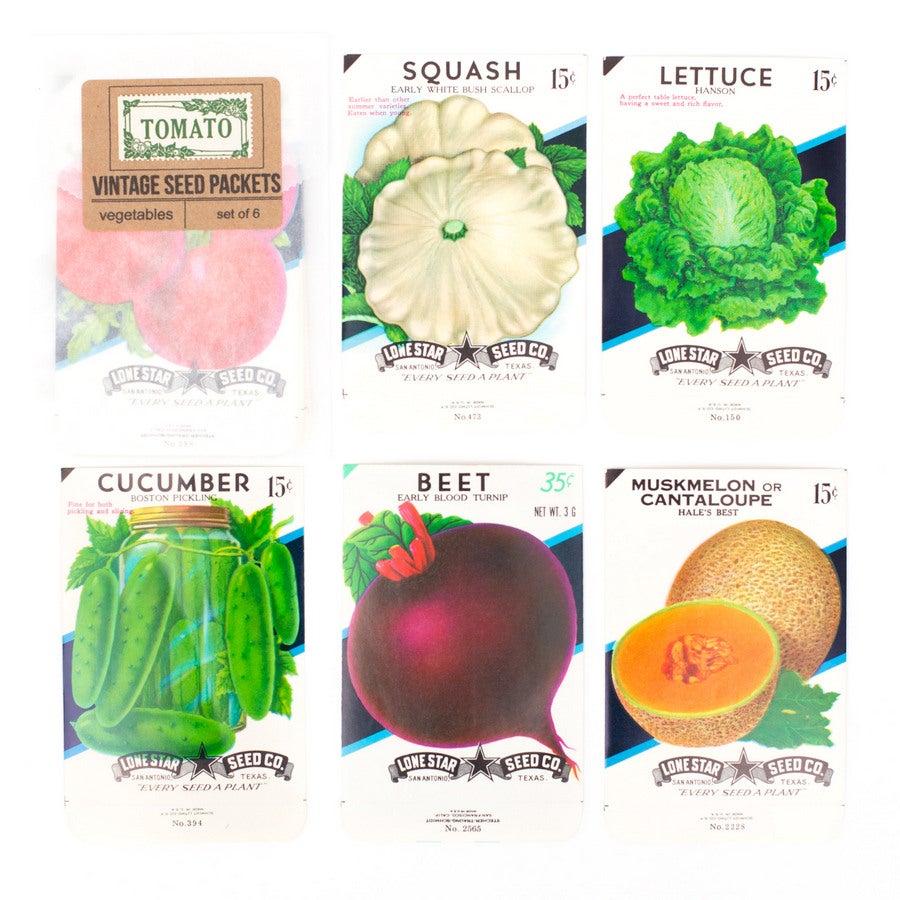 Image of Vintage Vegetable Seed Packets - Set of 6