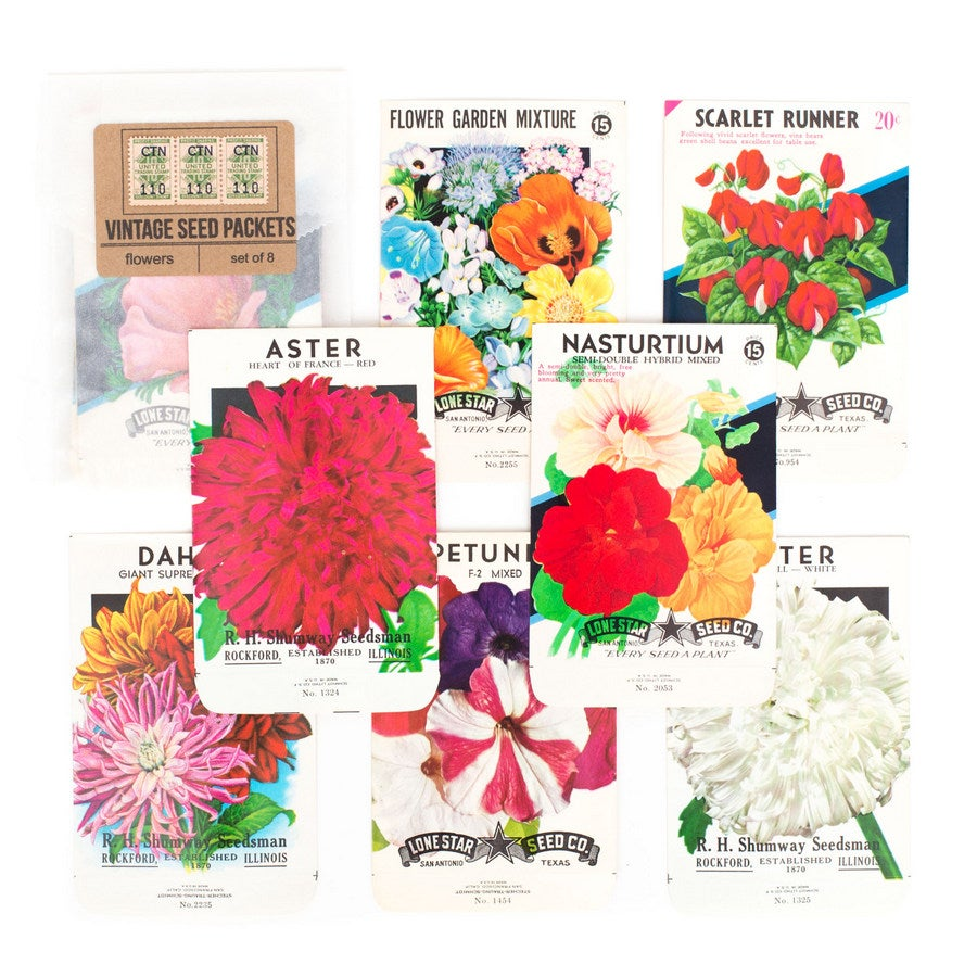 Image of Vintage Flower Seed Packets - Set of 8