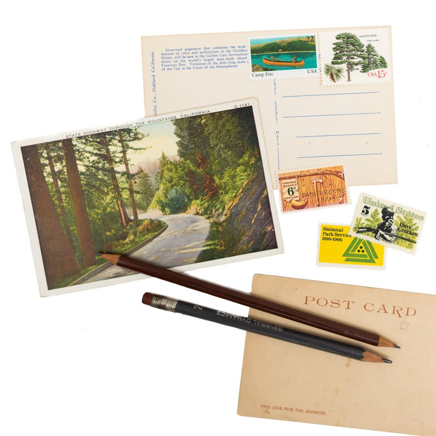 Image of Vintage Postcard Writing Kit - 3 Postcards with Postage