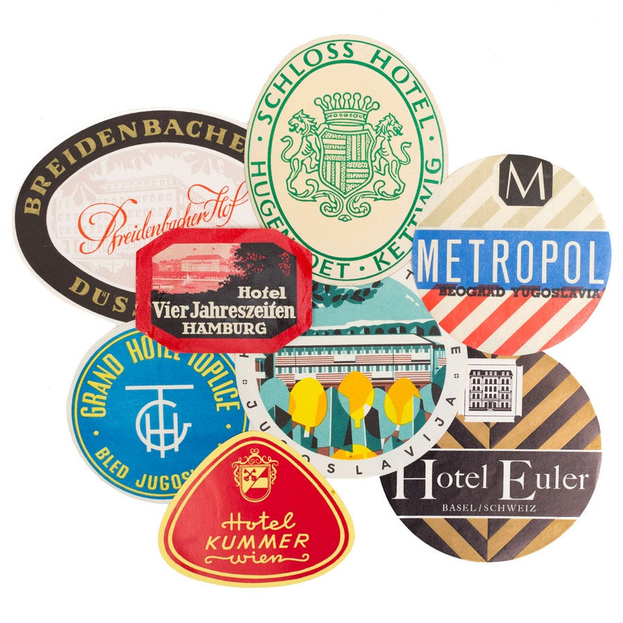 Image of Vintage Hotel Labels - Set of 3