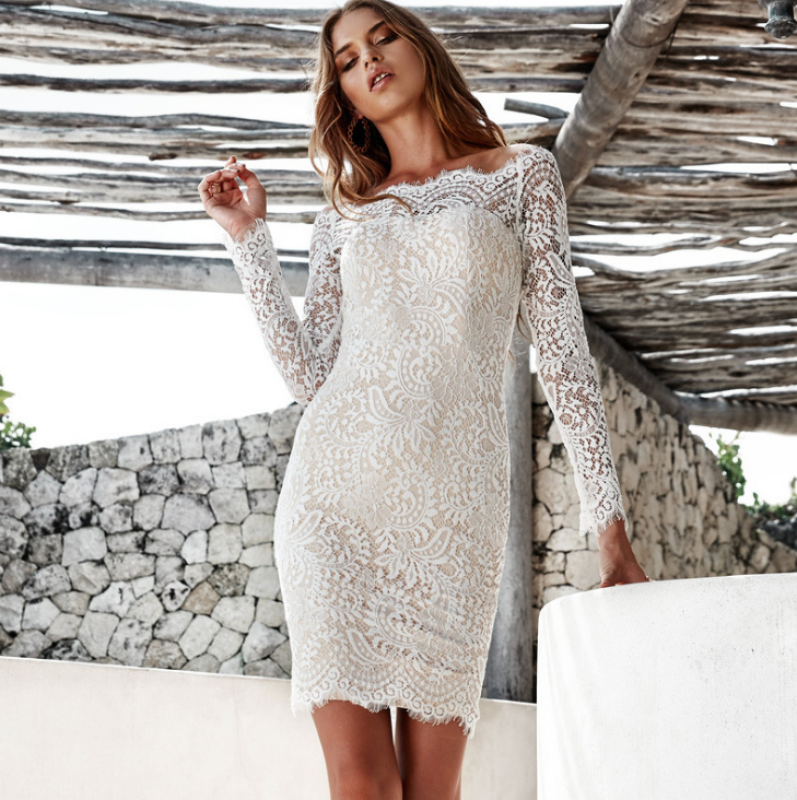 Image of Fashion new white lace clip in the eyelashes collar long sleeve dress