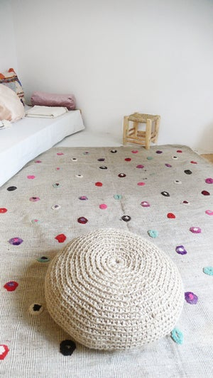 Image of Vintage Moroccan Wool Rug - Circles colored wool