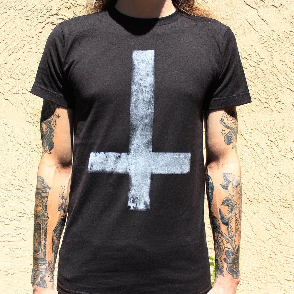 Image of Men's BLACK Upside-Down Cross T-Shirt
