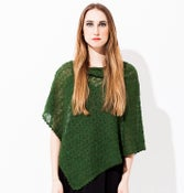 Image of Laceknitted poncho        Green melange