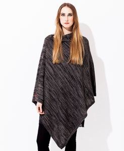 Image of Melange knitted poncho Grey