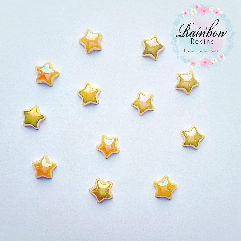 Image of Yellow 12mm AB flatback stars x 12