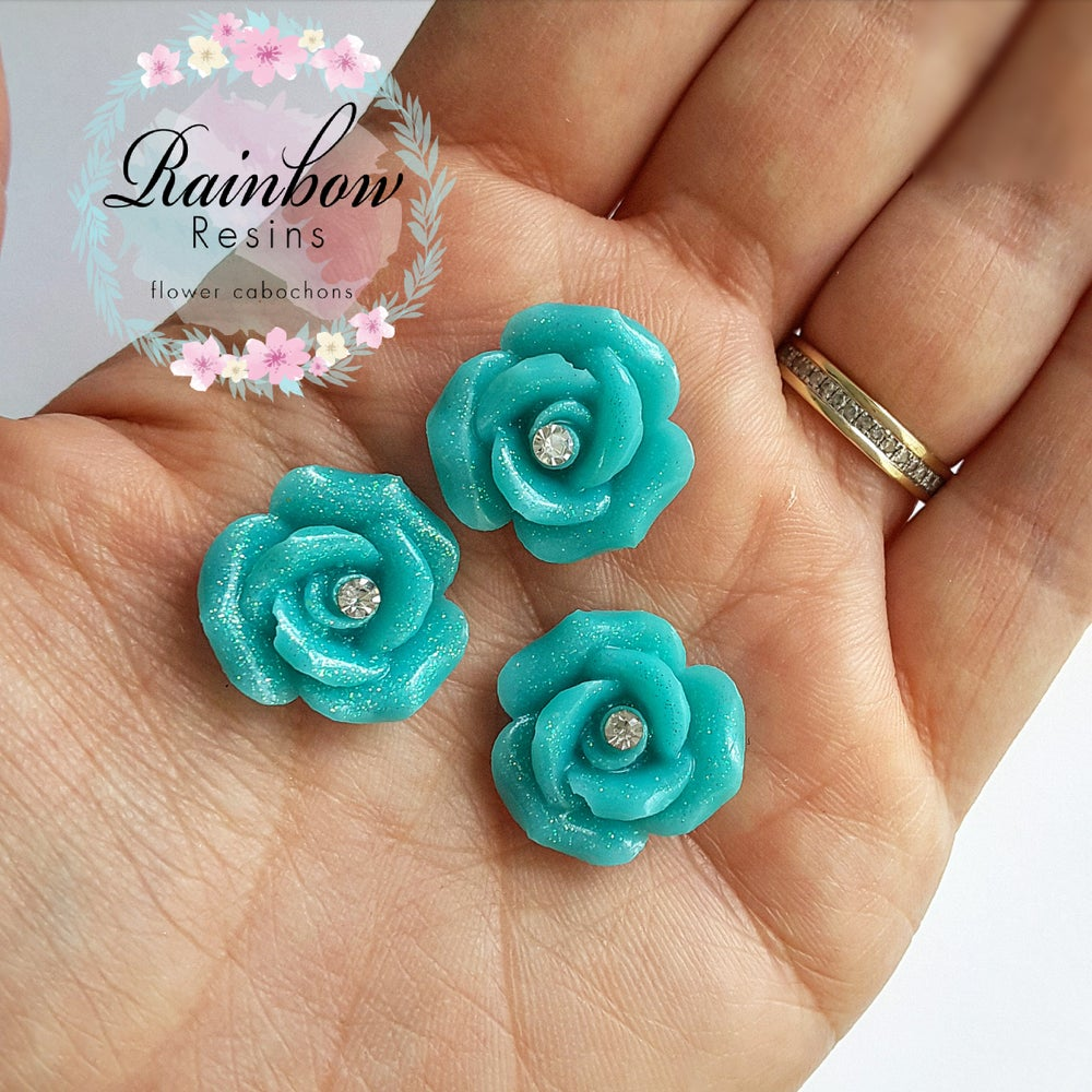 Image of Teal sparkle diamante roses x 4
