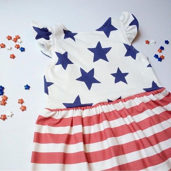 Image of PRE-ORDER Star Spangled Flutter Sleeve Dress