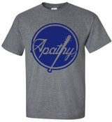 Image of Apathy BLUE Spiked Bat Logo T-Shirt - Grey Tee