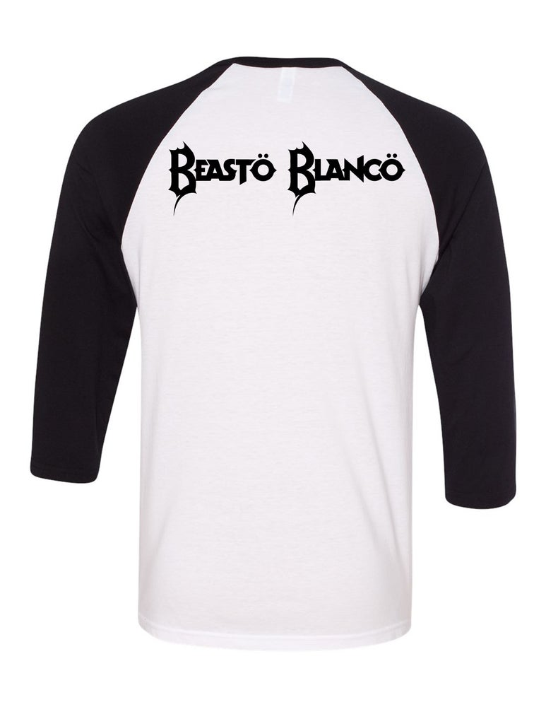 "Image of OFFICIAL - BEASTO BLANCO - MASK ""BLANCO"" 3/4 SLEEVE SHIRT"