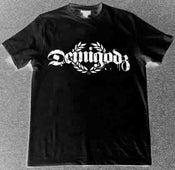 Image of Demigodz Classic White Print T-Shirt - Black Tee