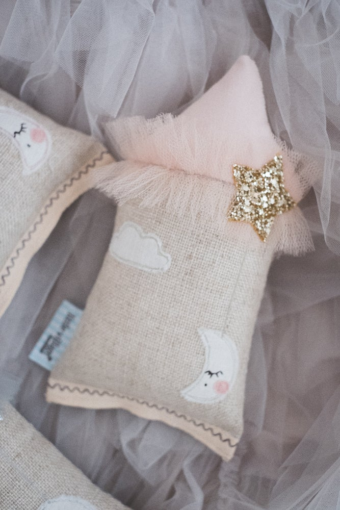 Image of PREORDER - Teeny Tiny cushion - Moon & Stars in Gold