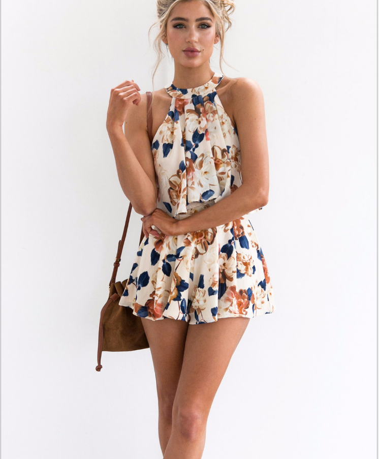 Image of Sexy printed neck two-piece outfit