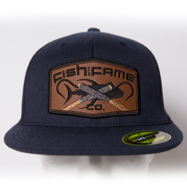 Image of 210 Fitted Hat w/Leather Gaff Patch (navy)