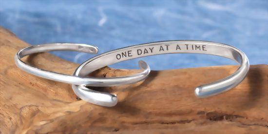 """Image of """"Once Day at a Time"""" sterling cuff bracelet"""