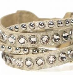 Image of Leather bracelet with multiple strands, studs, and swarovski crystals