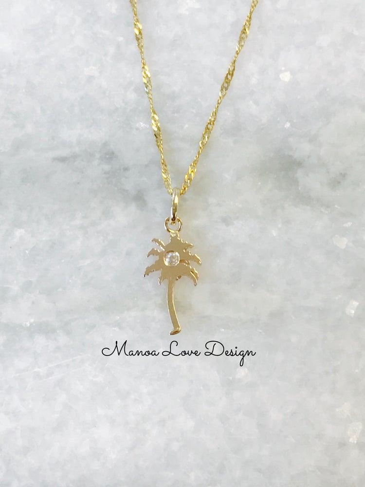 Image of Palm tree diamond pendant