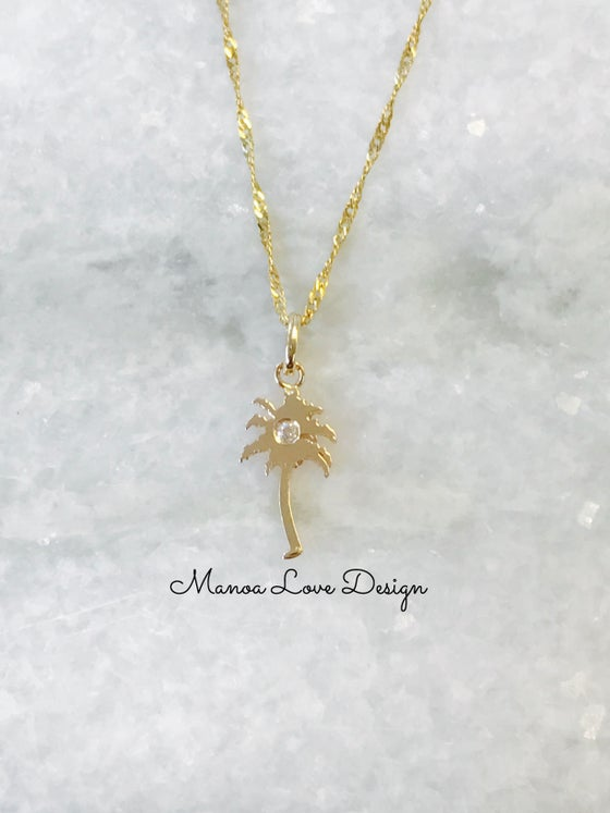 Image of Palm tree diamond pendant