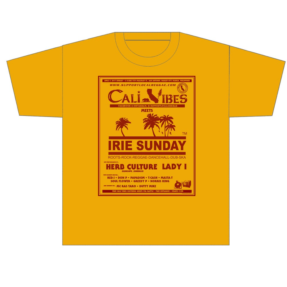 Image of CALI VIBES MEETS IRIE SUNDAY - LIMITED EDITION FLYER SHIRT