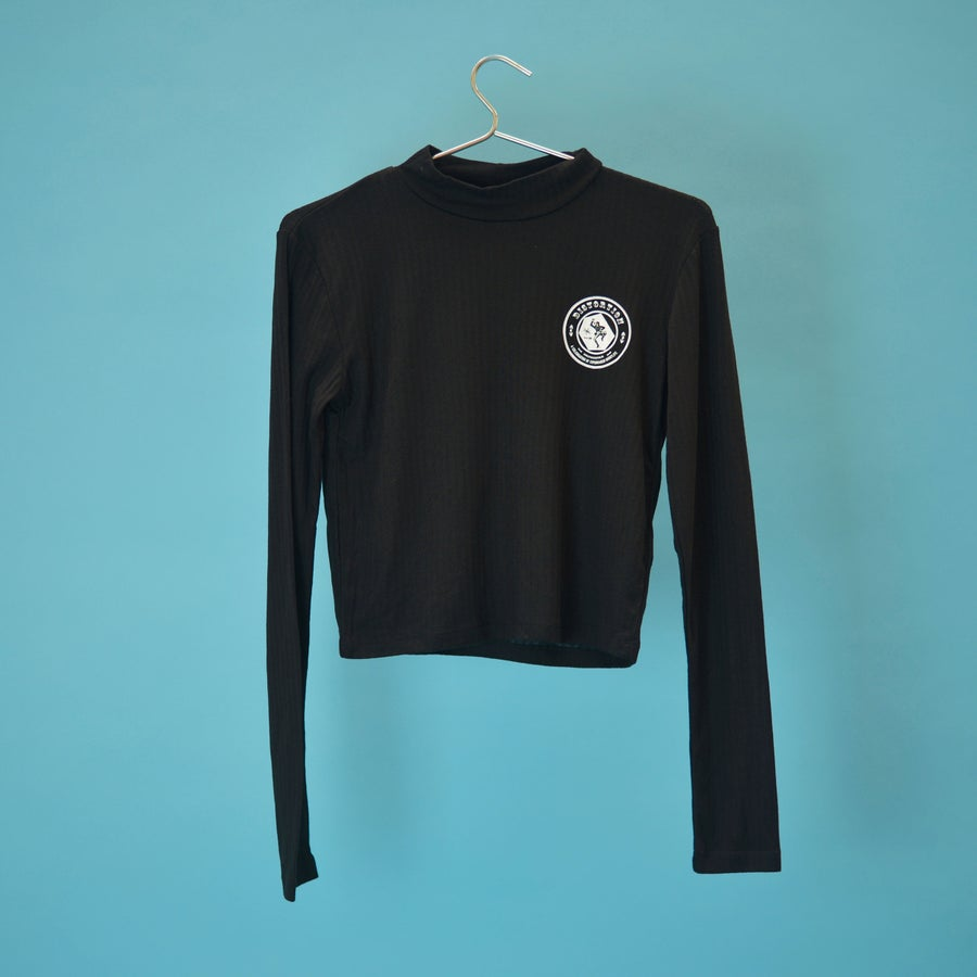 Image of Black Crop Top with Long Sleeves