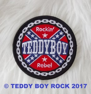 """Image of NEW! """"TEDDY BOY REBEL"""" ROUND CLOTH PATCH"""
