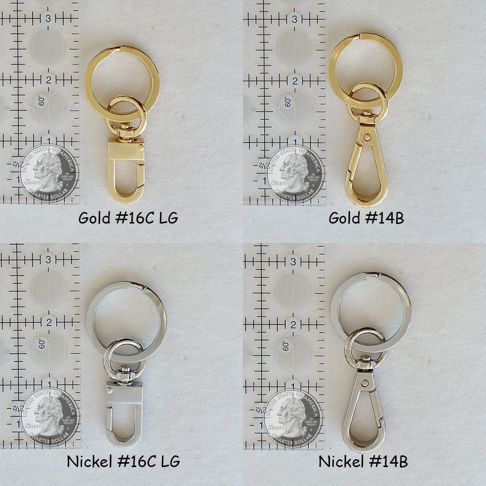Image of NEW! Key Ring/Chain Accessory with Swiveling Clip - Gold or Nickel Finishes - Choose Clip Style