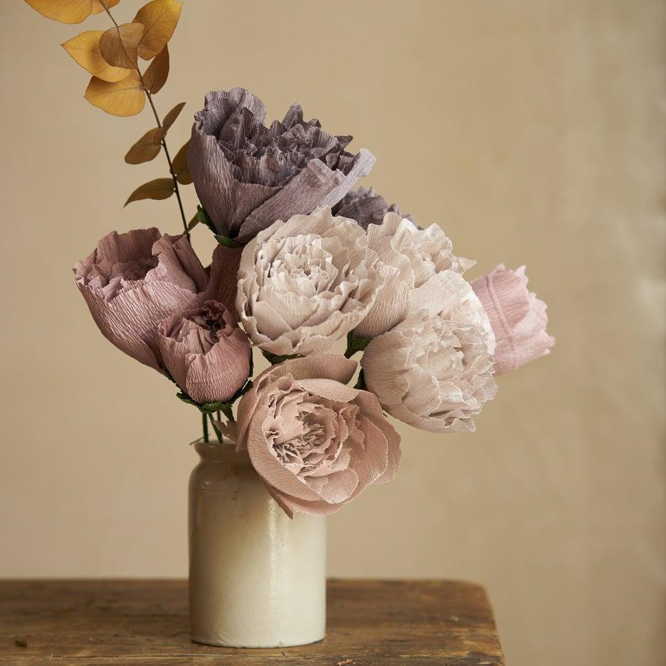 Image of Paper Peony Bouquet - Mauve, Light Grey, Dark Grey