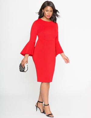 Image of Eloquii Studio Flare Sleeve Dress
