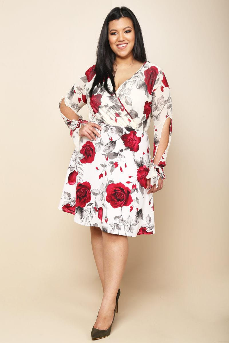 Image of Plus Size Rose Print Surplice Dress