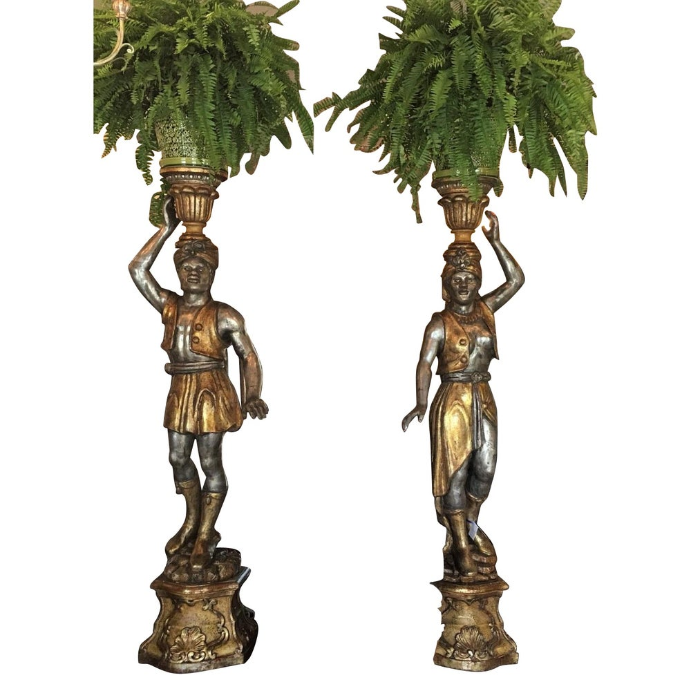 Image of Pair of Huge Venetian Gilt-Wood Designer Blackamoor Plant Stands / Lamps