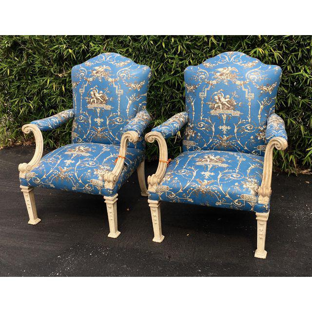 Image of Pair of Antique Baroque Arm Chairs w Rose Cumming Blue Fabric