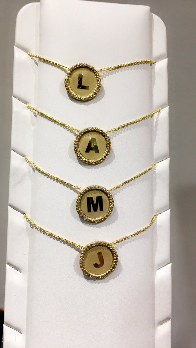 Image of Diamond Initial Pendant chains