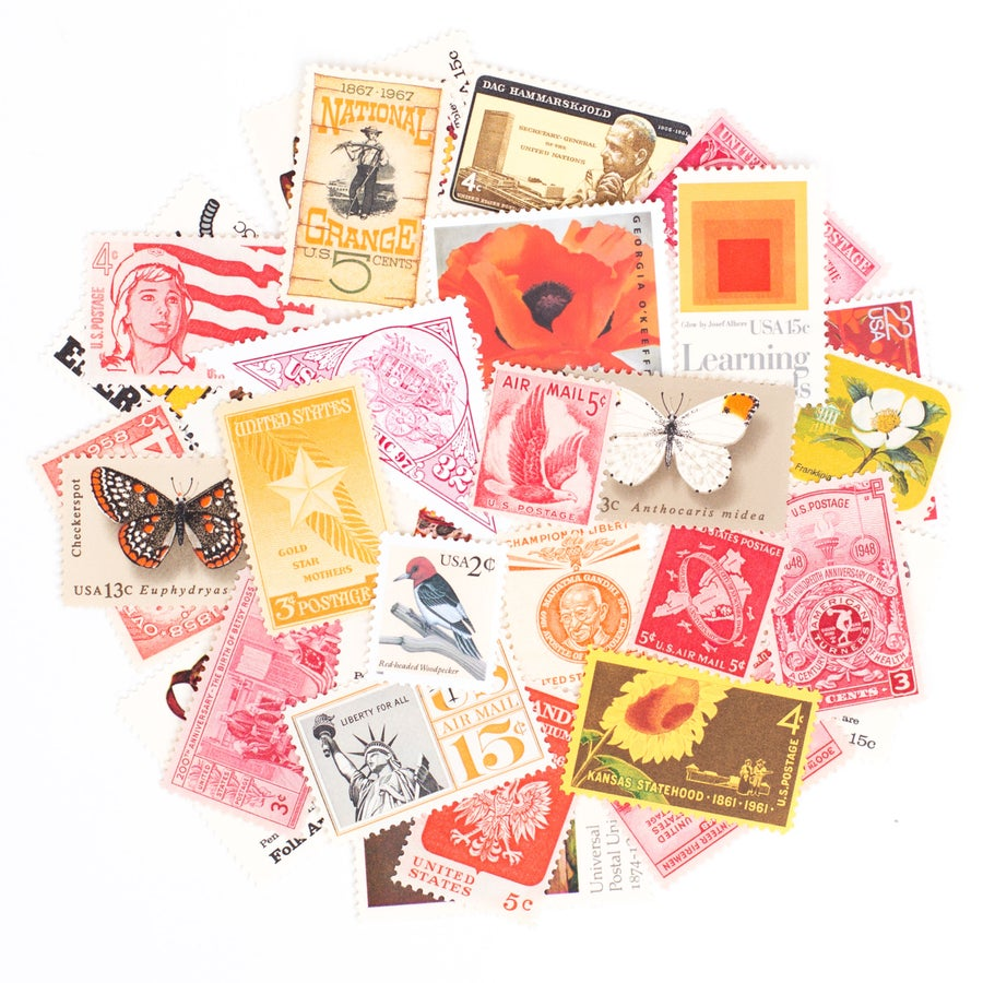 Image of Red, Orange, & Yellow Vintage Stamps