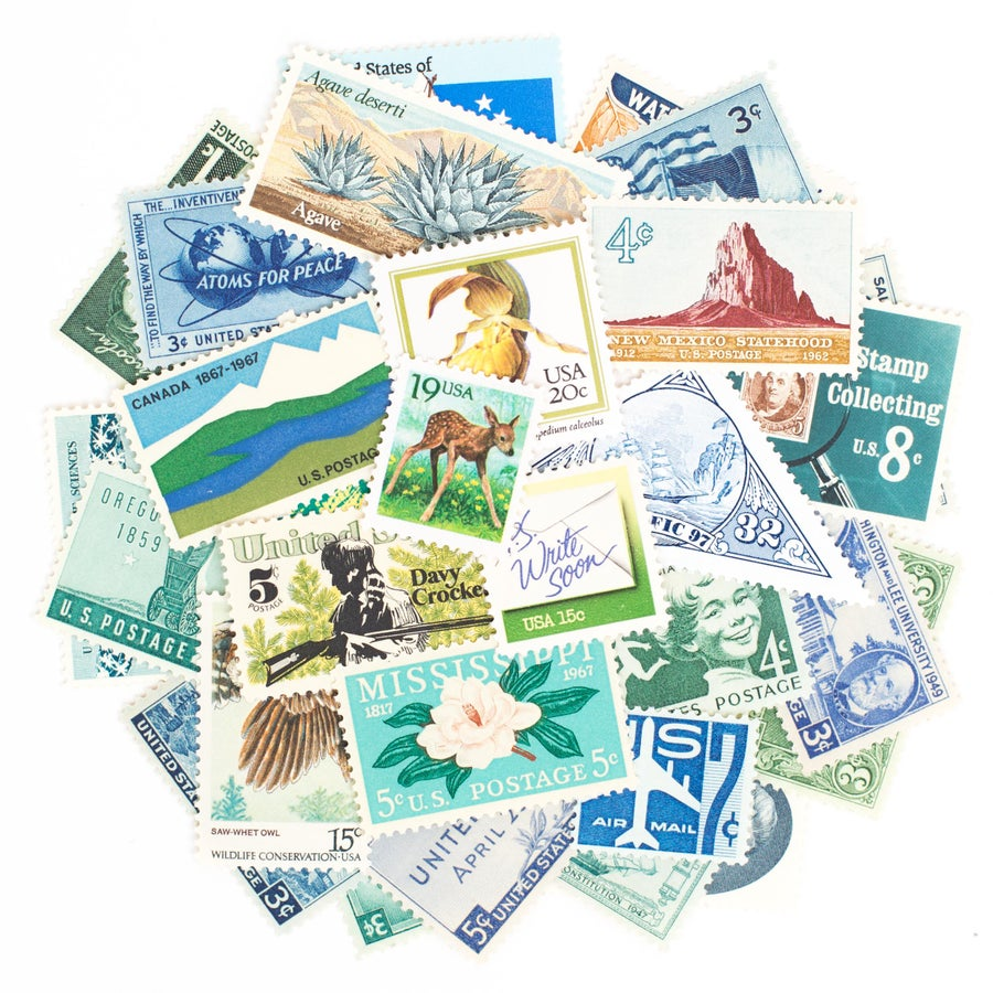 Image of Green & Blue Vintage Stamps
