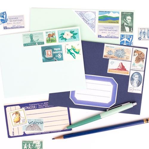 Image of Green & Blue Vintage Stamps