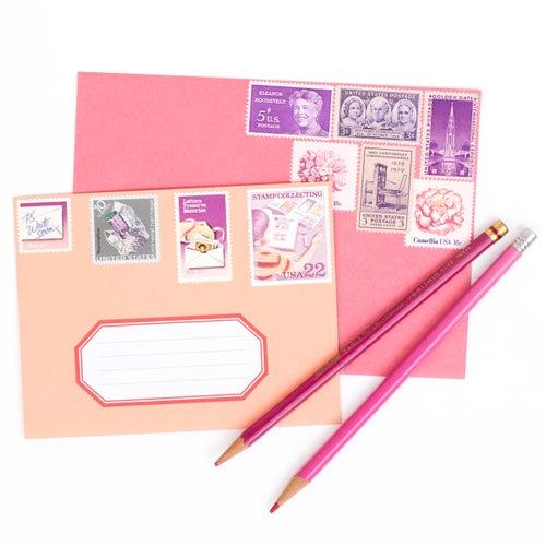 Image of Pink & Purple Vintage Stamps
