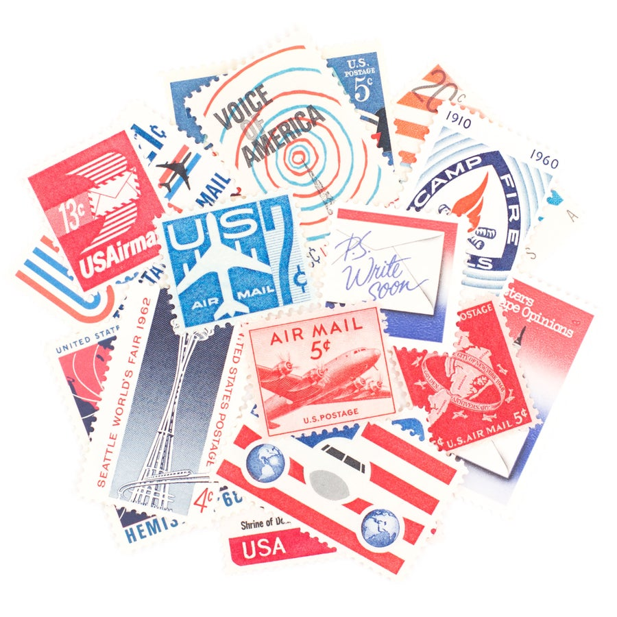 Image of Red, White, & Blue Vintage Stamps