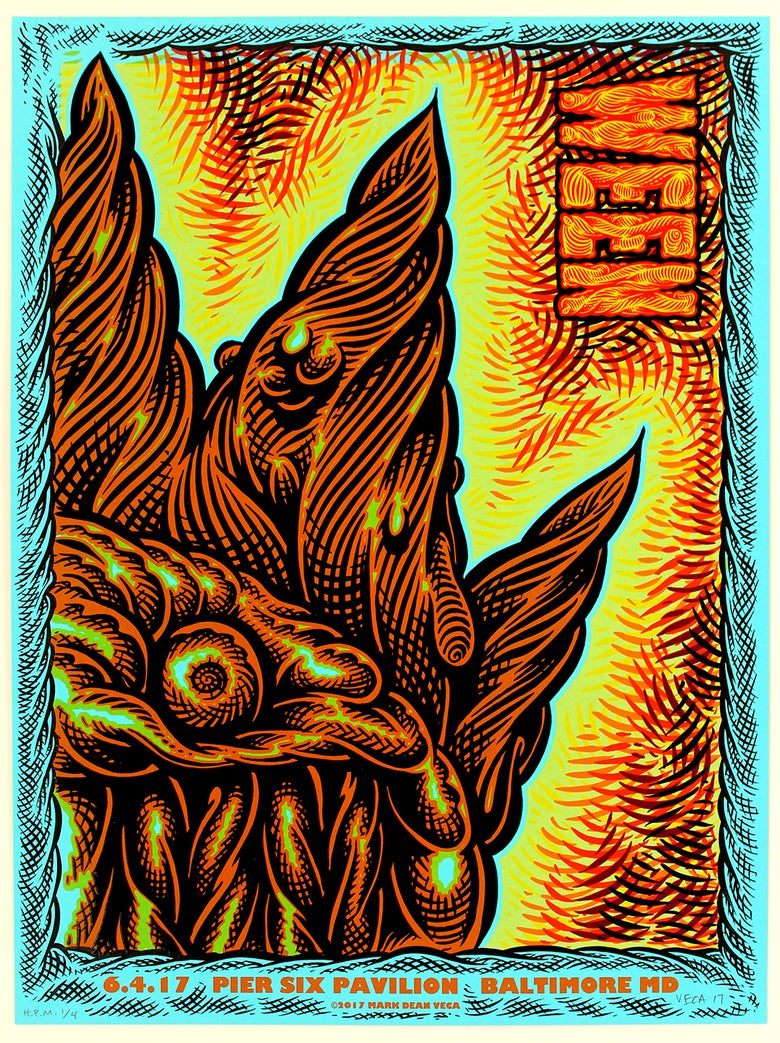 Image of  WEEN Tour Poster, Baltimore 2017 (Blue Variant, Hand-Embellished)