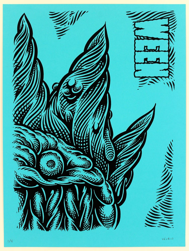 Image of  WEEN Tour Poster, Baltimore 2017 (Variant: Black-Plate on Blue)