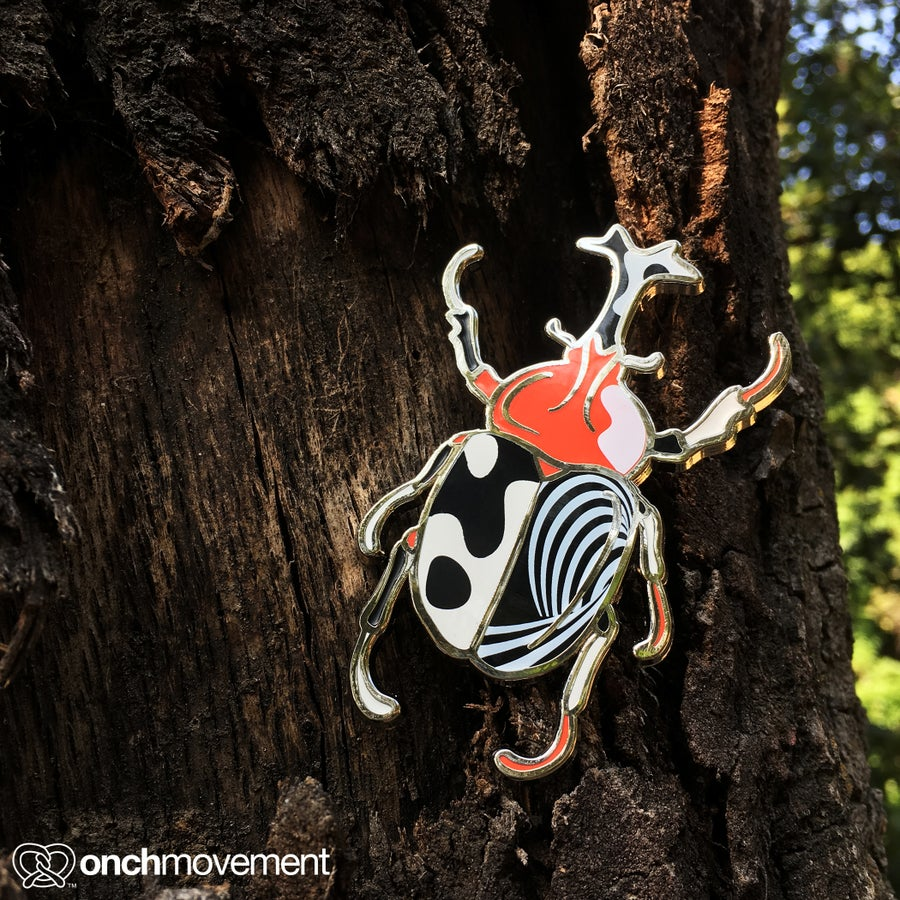 Image of Black Psychedelic Unicorn Beetle Brooch