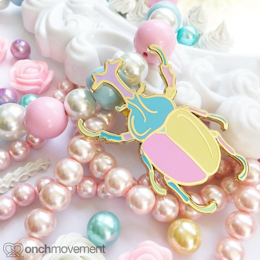 "Image of ""Babydoll"" Unicorn Beetle Brooch"